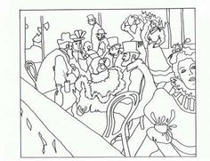 Masterpiece Coloring Page--Free printable-Henri Toulouse-Lautrec - The Moulin Rouge