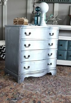 curvy silver metallic painted chest