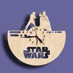 Star Wars Fight   Wooden Wall Clock 12 30cm / Laser by WoodenLog