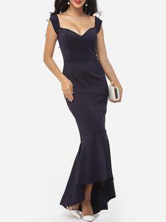 Mermaid Off Shoulder Dacron Plain Evening Dress
