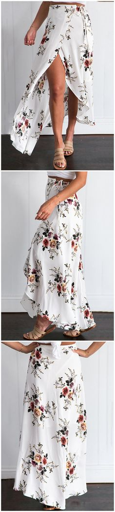 White Random Floral Print Splited Hem Self-tie Maxi Skirt