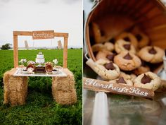 When having a party at the farm, hay bales and an old window would make a great dessert table.
