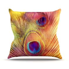 "Sylvia Cook ""Peacock Feather"" Throw Pillow   KESS InHouse #pillow #kessinhouse #homedecor #colorful #peacockfeather"
