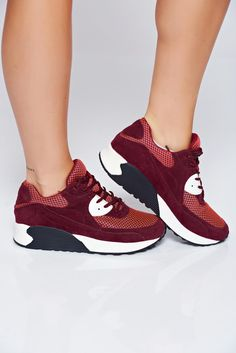 Top Secret burgundy casual sneakers with lace Casual Sneakers, Air Max Sneakers, Sneakers Nike, Top Secret, Nike Air Max, Most Beautiful, Burgundy, Trousers, School