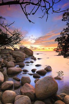 rock on sunset - This photo take at singkawang west borneo Beautiful Sky, Beautiful Beaches, Beautiful World, Beautiful Landscapes, Beautiful Nature Wallpaper, Landscape Pictures, Nature Pictures, Cool Pictures, Beautiful Pictures