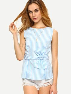 Online shopping for Blue Striped Sleeveless Tie Waist Blouse from a great selection of women's fashion clothing & more at MakeMeChic.COM.