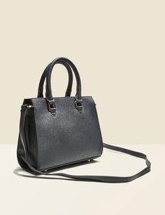petit sac cabas effet strié noir