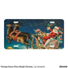 Vintage Santa Claus Sleigh Christmas Holiday License Plate Custom Front License Plates, License Plate Frames, Vintage Santa Claus, Vintage Santas, Christmas Holidays, Christmas Cards, Retro Christmas Decorations, Vanity Plate, Vintage Shops