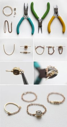 DIY: delicate chain ring...
