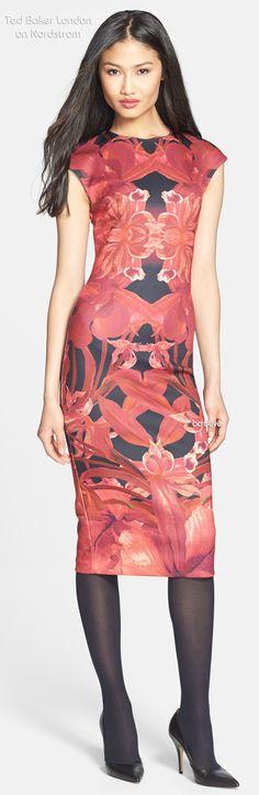 Ted Baker London 'Jungle Orchid' Print Neoprene Midi Dress