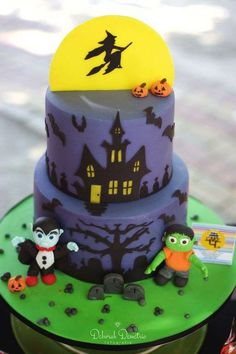 Cool cake at a Halloween party! See more party planning ideas at CatchMyParty.com!
