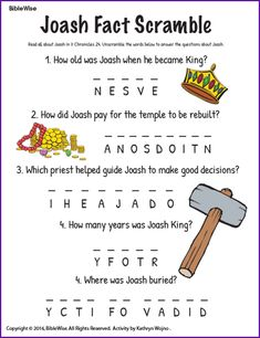 Which young king fits each statement joash or josiah for King joash coloring page