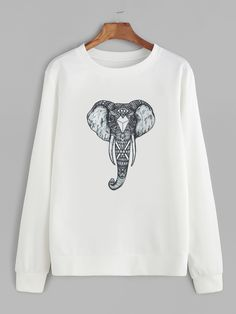 15$  Watch now - http://diwus.justgood.pw/go.php?t=13086 - White Elephant Print Sweatshirt 15$