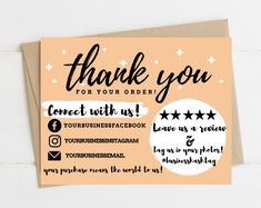 Printable Thank You Cards, Thank You Card Template, Custom Thank You Cards, Card Templates, Small Business Cards, Business Thank You, Business Ideas, Business Goals, Craft Room Storage
