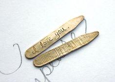 I love you collar stays.  woodgrain engraved collar stays . bronze collar stays . romantic gift for him husband groom valentine gift