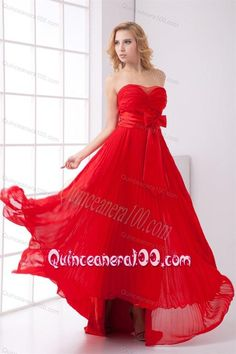 633ef914a2a Elegant Strapless Red Empire Pleat Chiffon Dama Dress for Quinceanera with  Bowknot
