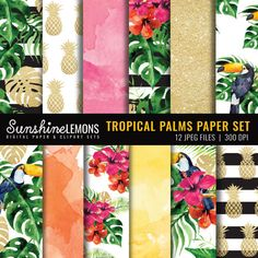 Tropical Palms Digital Paper Pack  Summer by SunshineLemons