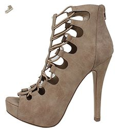 Delicious Women's Peep Toe Stappy Elastic Platform High Heel Pump (Taupe, 6.5 B(M) US) - Delicious pumps for women (*Amazon Partner-Link)