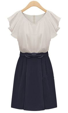 Navy Short Sleeve Zipper Bow Chiffon Dress