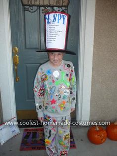 "Homemade  ""I Spy"" Costume: This  I Spy Costume was so fun and easy to make, economical too. It won a prize at school for my son. He loves reading I Spy books and I wanted to find"