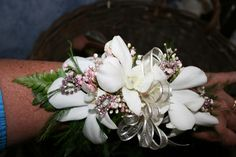 orchid boutonniere | WHITE ORCHID CORSAGE PINK BLING | Dawn's Creations