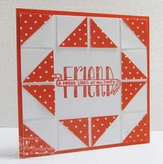Stampin' Up! ... hand crafted quilt card ... square punches  ... orang and white .. great design ..