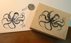 Octopus rubber stamp WM 2.4x2 inches