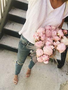 Jeans + white tee.