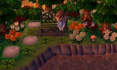 Metal bench by the river in Clambake (dream address 5100-4022-5551). #animalcrossing