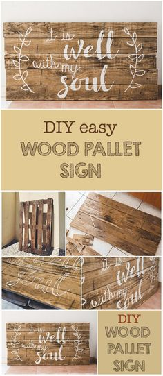 This DIY #woodpallet sign is super simple to make yet so trendy. DIY Wood Pallet Sign tutorial is available on http://sixcleversisters.com