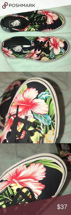 Vans🖤 Super cute shoes‼️ tropical flower print on these vans‼️ they have only been worn 2 times because they were to small for me‼️ super cute and great condition‼️ I will take offers‼️💞 Vans Shoes Sneakers