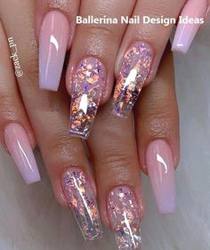 Ballerina nails ombre nails glitter nails spring nails 34 trendy summer nails designs that are so perfect for 2019 Nail Design Glitter, Cute Acrylic Nail Designs, Short Nail Designs, Clear Nail Designs, Ombre Nail Designs, Pretty Nail Designs, Coffin Nails Designs Summer, Manicure Nail Designs, Cute Summer Nail Designs