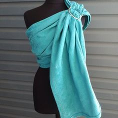 Ring Sling Baby Carrier Turquoise Linen Blend by UchiWraps on Etsy Kangaroo Care, Ring Sling, Baby Sling, Pregnant Mom, Baby Bumps, New Moms, Woven Fabric, Infant, Trending Outfits