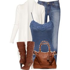 A fashion look from November 2012 featuring Witchery cardigans, Vivienne Westwood jeans and Madden Girl boots. Browse and shop related looks.
