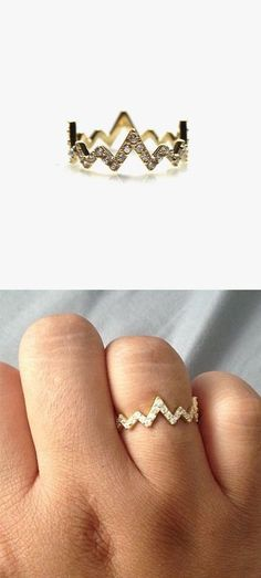 Pave Heartbeat Ring ♥ Love this for when I have a baby, for their heartbeat!