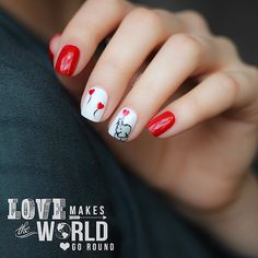 Love does make the world go round Smile, be kind, radiate positivity, fill the world with joy.  It's the least we can do to make our world a better place. I love todays design! Featuring one of my favorite animals everrr!!!  A wittle hand painted elephant holding a balloon.  I used @formulaxnail {rouge} and @essiepolish {blanc} the hearts are from my bottle of heart glitter from @shopncla called {Love me}