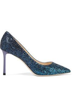 Heel measures approximately 85mm/ 3.5 inches Tonal-blue glittered leather Slip on Designer color: Peacock Made in Italy