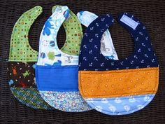 Set of 3 Handmade Baby Boy Bibs by luckyboodha on Etsy, $18.00