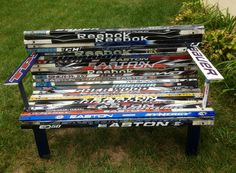 A hockey stick bench made by our very own Stinger for the Blue Jackets Foundation! Hockey Decor, Hockey Room, Hockey Stick Crafts, Hockey Sticks, School Auction Projects, Plywood Storage, Nhl News, Plywood Sheets, Have Time