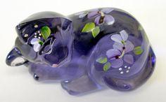 Violet Sleeping Kitten Figurine ~ Fenton Art Glass