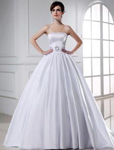 Ball Gown Beading Strapless Sleeveless Long Satin Wedding Dresses