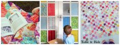 """""""Stained Glass"""" Doors created with material and glue (Tickle and Hide) - one of the cleverest ideas I've seen in a long time!!"""