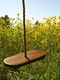 Must make one like this one for the boys.    Garden Rope Swing Made in USA 25 ft. $60.40, via Etsy