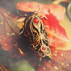 Jeweled Cicada Art Nouveau Ring by 19Moons- #handmade #steampunk #jewelry #art now on Etsy by 19moons, via Flickr