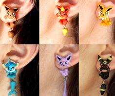 Eevee and Evolutions Pokemon Earrings....... Uh YES PLEASE!!!!!