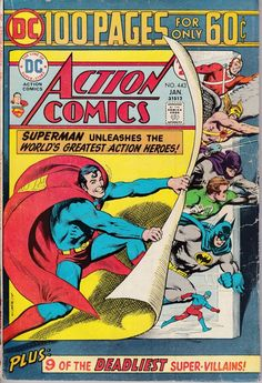 """""""Superman: """"At Last!"""""""": The Queen Bee assembles the Anti-Justice League to capture the Justice League, but Superman throws them a curve by using a Kandorian machine to r Vehicles: Dc Comics, Superman Action Comics, Superman Comic, Batman, Superman Story, Superman Family, Comic Books For Sale, Dc Comic Books, Comic Book Covers"""
