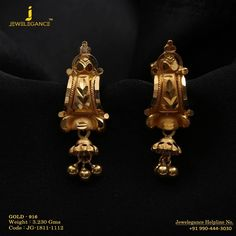 Gold 916 Premium Design Get in touch with us on Gold Jhumka Earrings, Jewelry Design Earrings, Gold Earrings Designs, 1 Gram Gold Jewellery, Gold Jewellery Design, Gold Earrings For Women, Bridal Jewelry Vintage, Gold Jewelry Simple, Elegant Designs