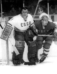 Vladimír Dzurilla & Boris Mikhailov Women's Hockey, Hockey Games, Russian Red, Goalie Mask, Masked Man, Vancouver Canucks, Red Army, Hockey Players, Olympics