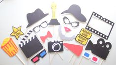 20pc *Movie Party Photo Booth Props/Oscar Party Photobooth Props/Hollywood Glamor/Movie Nignt/Oscars/Awards Props by ThePartyGirlStudio on Etsy https://www.etsy.com/listing/222374008/20pc-movie-party-photo-booth-propsoscar