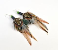Real feather earrings  Long feather earrings  by FeathersnThingz